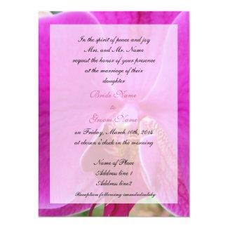wedding, bride's parent's invitation pink orchid personalized   invite