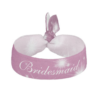 Wedding Bridesmaid Favor Winter Sparkle Pink Elastic Hair Ties