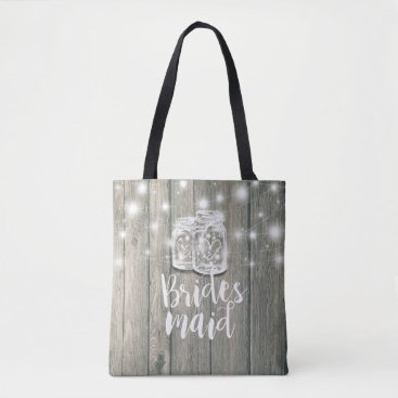 Bride Themed Wedding Bridesmaid Wood Mason Jars & String Lights Tote Bag