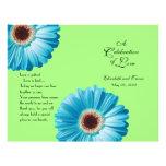 Wedding Bright Blue Daisy Program Custom Flyer