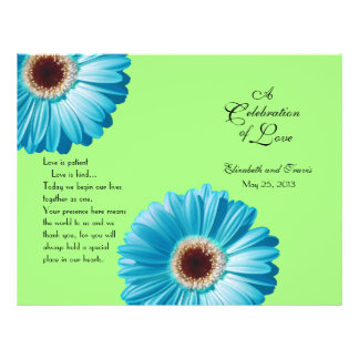 Wedding Bright Blue Daisy Program Flyer
