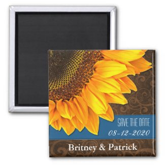 Wedding Brown Blue Sunflower Save the Date Magnets magnet