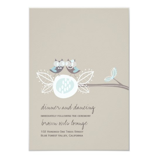 Wedding Brown Owls On Branch Whimsical Reception Card