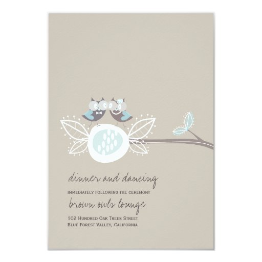 Wedding Brown Owls On Branch Whimsical Reception Announcements