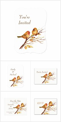 Wedding Brown Red Little Sparrow Birds