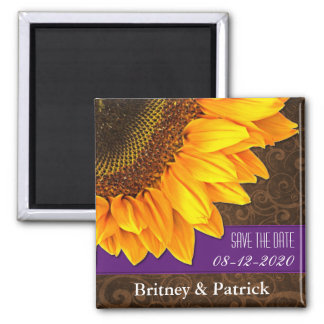Wedding Brown Sunflower Save the Date Magnets