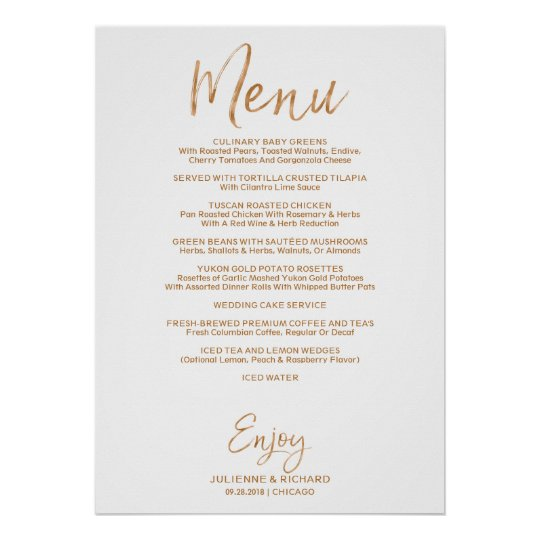 Admirable Wedding Buffet Menu Stylish Gold Rose Lettered Poster Home Interior And Landscaping Ponolsignezvosmurscom