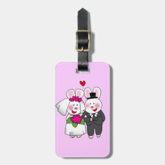 wedding bunnies luggage tag