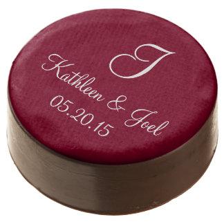 Wedding Burgundy Fashionable Single Color Chocolate Dipped Oreo