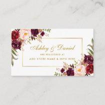 Wedding Burgundy Floral Registry Insert Card B