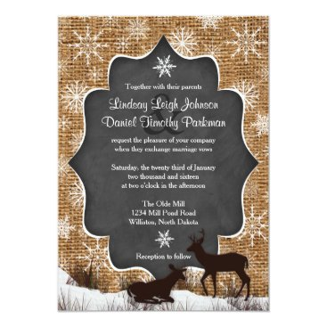 Wedding | Burlap | Deer | Snowflakes | Chalkboard Card