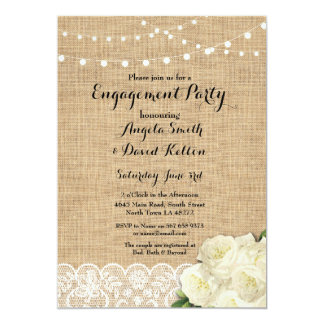 Wedding Burlap Lights Lace Engagement Invite