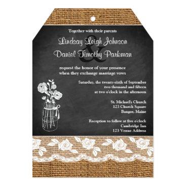 Wedding | Burlap | Mason Jar, Lace | Chalkboard Card