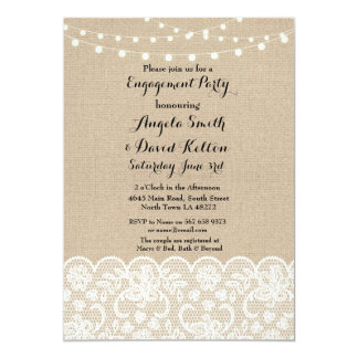 Wedding Burlap String Light Lace Engagement Invite