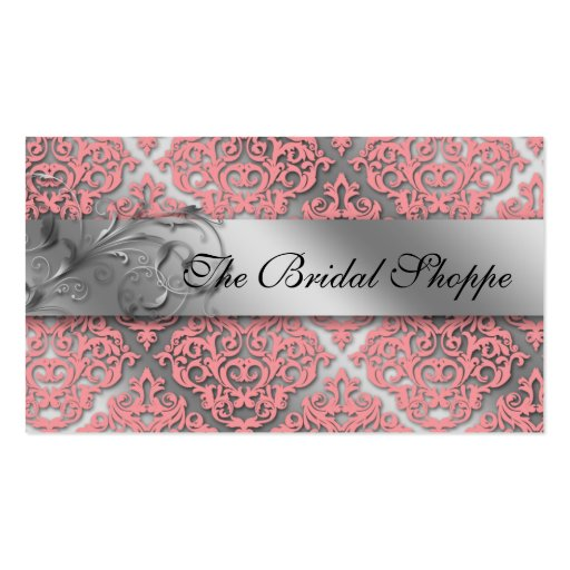 Wedding Business Card Damask Floral Baby Pink