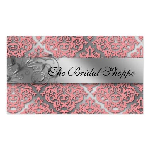 Wedding Business Card Damask Floral Baby Pink