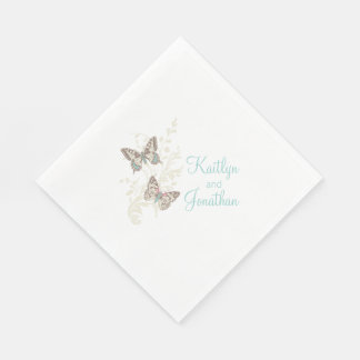 Wedding butterflies art teal white dinner napkins