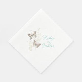 Wedding butterflies art teal white dinner napkins standard luncheon napkin