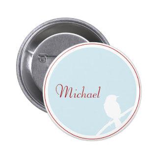 Wedding button as Tischkarte (turquoise red)