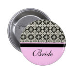 wedding buttons, damask and pink strip color button