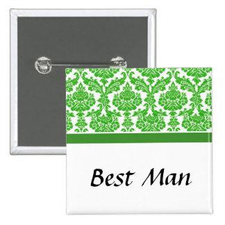 wedding buttons, green damask button