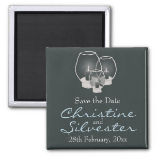 Wedding By Candlelight, save the date 2 Inch Square Magnet