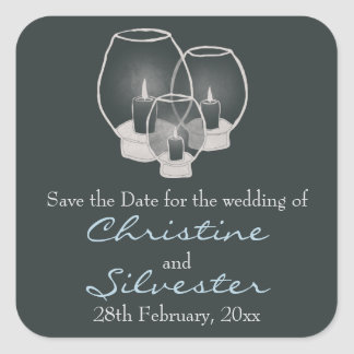 Wedding By Candlelight,  save the date. Square Sticker
