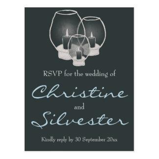 Wedding By Candlelight, wedding RSVP postcard