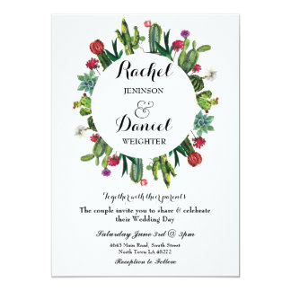 Wedding Cactus Floral Fiesta Wreath Party Invite