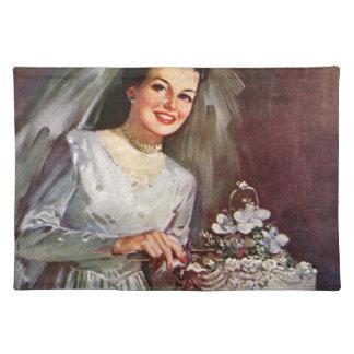 Wedding Cake and Bride - Vintage Illustration Placemat