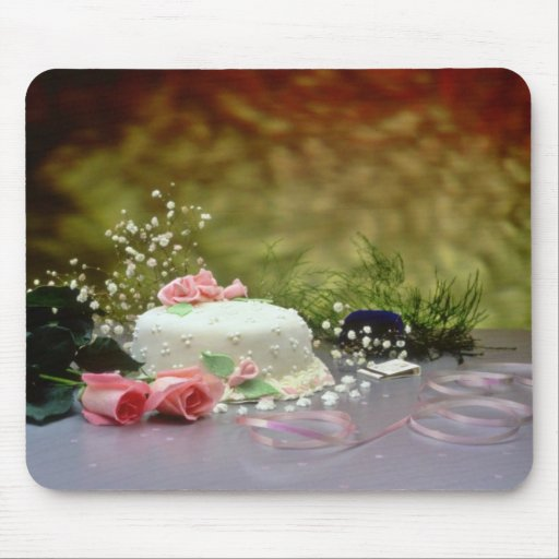 Wedding cake and flowers  flowers mouse pad