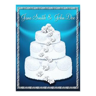 Wedding Cake Aqua Blue & White Wedding Invitation