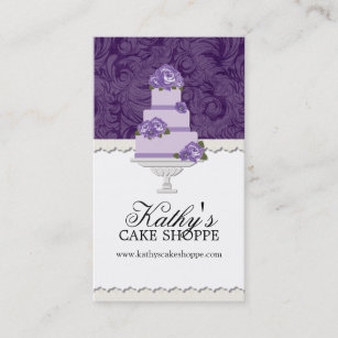 Purple wedding cake business cards templates zazzle wedding cake bakery business cards reheart Image collections