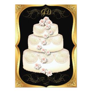 Wedding Cake Black & Gold Wedding Invitation