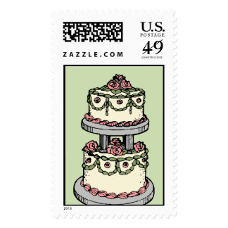 Wedding Cake - Customizable Color! Postage Stamps