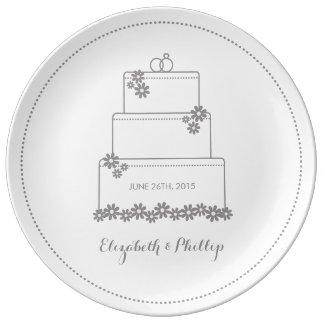 Wedding Cake Decorative Gift Plate - White