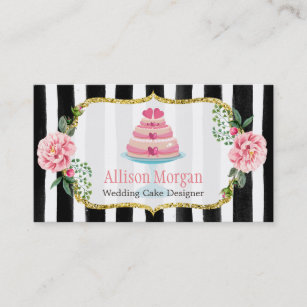 Wedding cake designer business cards templates zazzle wedding cake design gold pink floral striped business card reheart Image collections