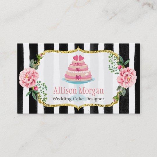 wedding cake design gold pink floral striped business card zazzle com