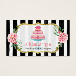Cake business cards templates zazzle wedding cake design gold pink floral striped business card wajeb Choice Image