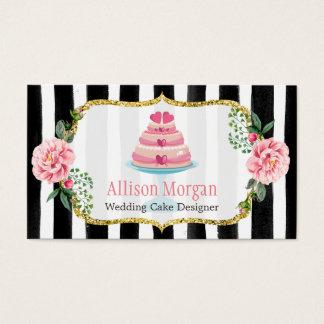 Wedding Cake Design Gold Pink Floral Striped Business Card