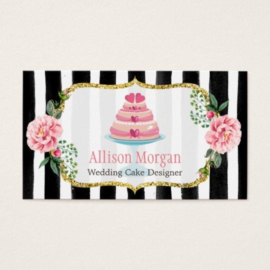 Wedding cake design gold pink floral striped business card zazzle wedding cake design gold pink floral striped business card reheart Images