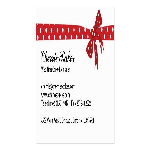 Wedding Cake Designer Business Cards (back side)
