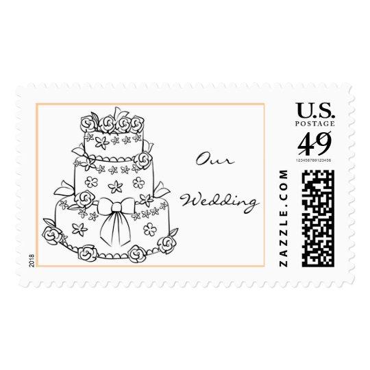 wedding cake drawing postage stamp zazzle. Black Bedroom Furniture Sets. Home Design Ideas