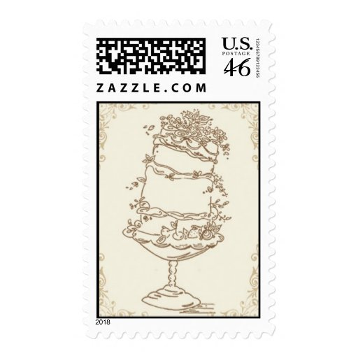 Wedding Cake_Gold by Ceci New York Postage Stamp
