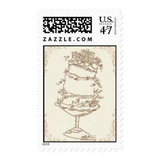 Wedding Cake_Gold by Ceci New York Postage Stamp