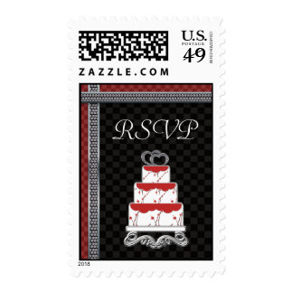 Wedding Cake Hearts Topper Checkerboard Postage