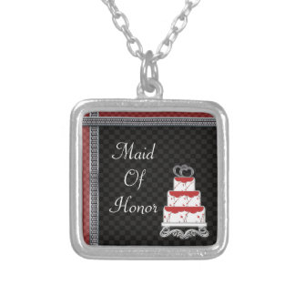 Wedding Cake Hearts Topper Checkerboard Silver Plated Necklace