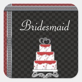 Wedding Cake Hearts Topper Checkerboard Square Sticker
