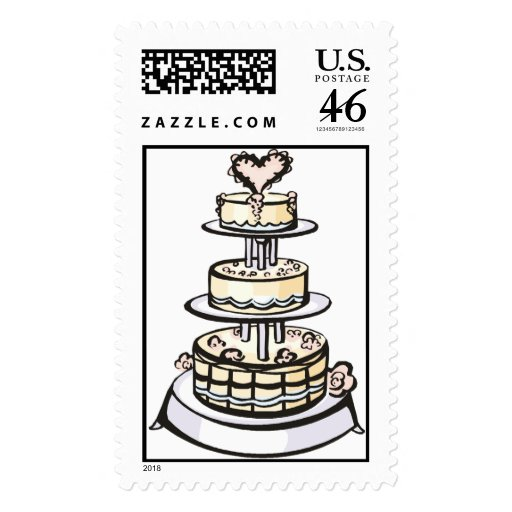 Wedding Cake Invitation Stamps 2015 Zazzle