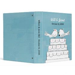 Wedding Cake Love Birds - Bride & Groom Kiss Vinyl Binder